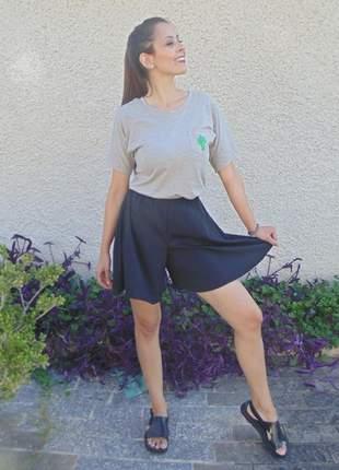 Shorts godê feminino cintura alta sem estampa