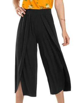 Calça pantacourt casual feminina preta básica coleção verão
