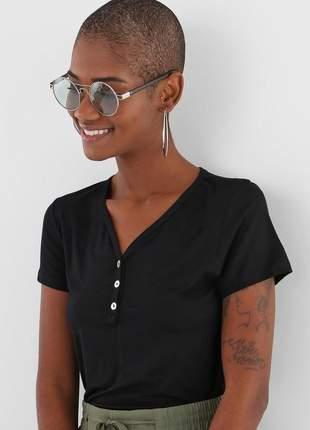 Blusa feminina casual botões básica dia a dia tecido leve