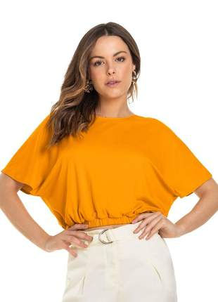 Blusa feminina casual  amarela básica com elástico na cintura verão gola redonda