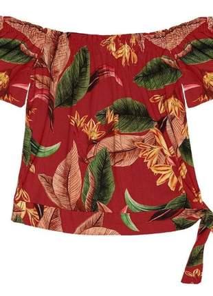 Blusa ombro a ombro feminina ciganinha estampada vermelho
