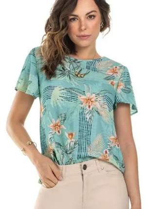 Blusa feminino casual estampada floral gola redonda 1380