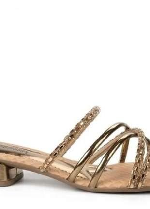 Tamanco feminino casual prático elegante strass