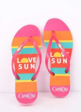 Chinelo capricho love sun feminino rosa claro pink coleção verão