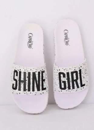 Chinelo slide shine girl capricho branco leve tendência emborrachado coleção verão