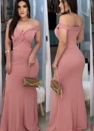 Vestido longo rosa de festa barato madrinha de casamento aniversariante convidadas