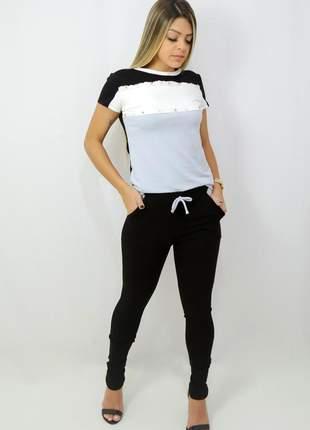 Conjunto calça e blusa em moletinho viscose / elastano color lindo ten verão 2021