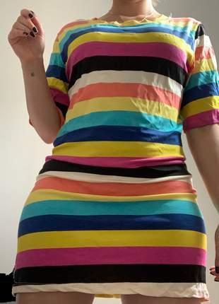 Vestido camisetão colorido