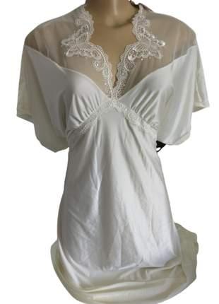 Camisola verão curta com detalhes em renda valisere - kaftan