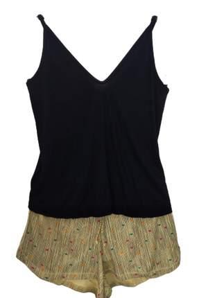 Pijama shortdoll  verão blusa visco e short amarelo - tribo do sono
