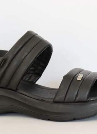 Sandália casual azaleia papete feminino preta leve