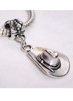 Berloque chapéu cowboy ou cowgirl pingente charm compatível com bracelete pandora vivara