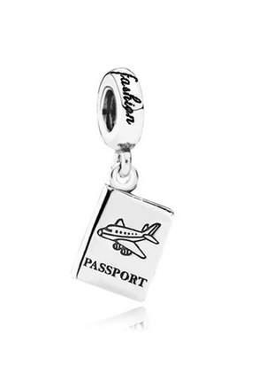 Berloque passaport/passaporte pingente charm compatível com bracelete pandora vivara