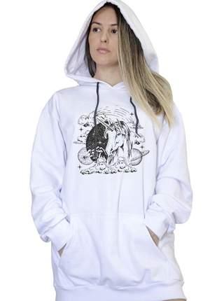 Casaco canguru branco feminino magic unicorn 005