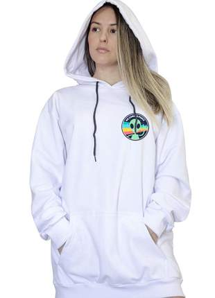 Casaco canguru branco feminino we come in peace 012