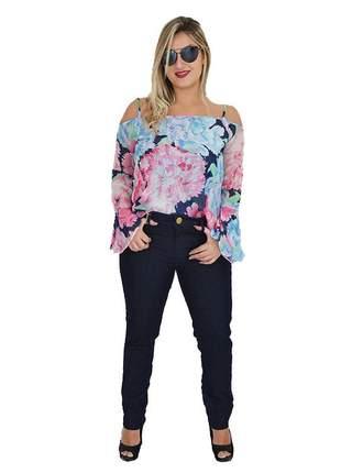 Blusa floral manga longa sino promoção