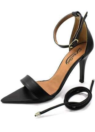 Sandália bico folha preto zhaceci