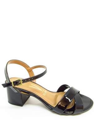 Sandália vizzano preta verniz salto 5 cm