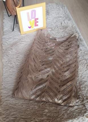Vestido dourado tricomix