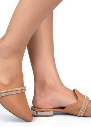 Sapato mule feminino calce prático strass salto baixo