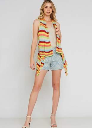 Colete ralm tricot listrado - multicolorido
