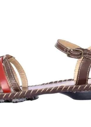 Sandália feminino em couro marrom joanete casual