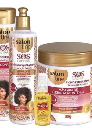 Kit salon line sos cachos queratina e ricino + óleo rícino mágico 06 itens