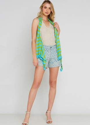 Colete ralm tricot listrado - verde