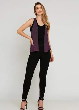 Colete ralm tricot mescla - roxo