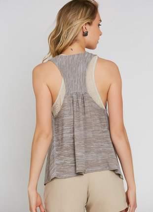 Colete ralm tricot mescla - bege