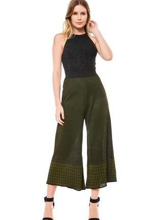 Conjunto tricot ralm calça pantacourt + regata - preto