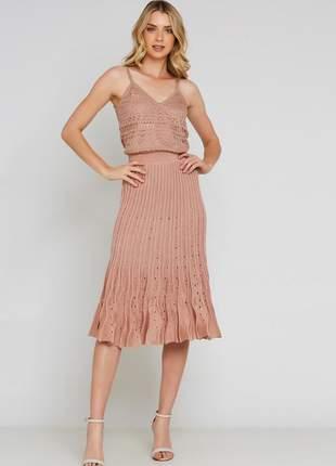 Conjunto tricot ralm regata + saia midi - nude