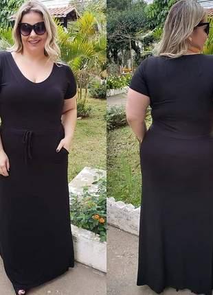 Vestido plus size gordinha longo preto basico com ajuste na cintura manga curta viscolycra