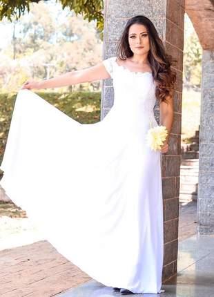 Vestido branco moda festa de noiva casamento civil cartório igreja pronta entrega longo