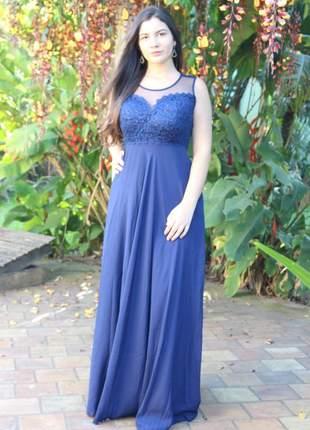 Vestido longo azul marinho moda festa bojo decote princesa madrinha casamento formatura