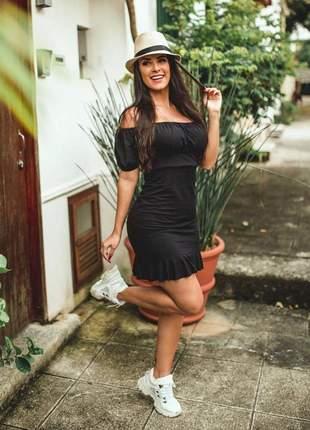 Vestido ciganinha curto com bojo viscolycra preto
