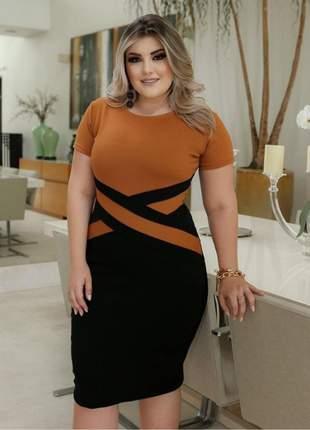 Vestido midi social moda evangelica festa manguinha pronta entrega blogueira senhora