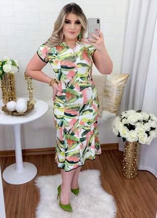 Vestido midi social moda evangelica manguinha elegante estampado verão festa convidadas