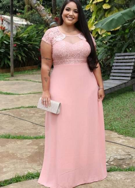 Vestido De Festa Rosa/casamento/plus Size/madrinha