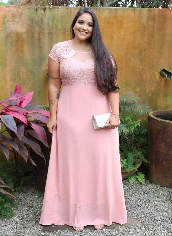Vestido Plus Size Rosa Rosê/madrinha/formatura/casamento