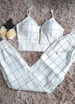 Conjunto social cropped e calça feminino home office festa casual moda executiva verão
