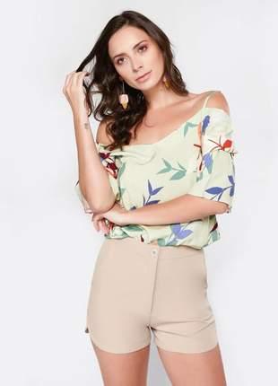 Blusa feminina estampada com alça regulável tam.: m _ 40/42