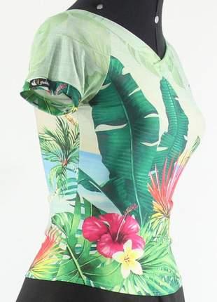 Blusa blusinha feminina folhagens decote v moda evangélica