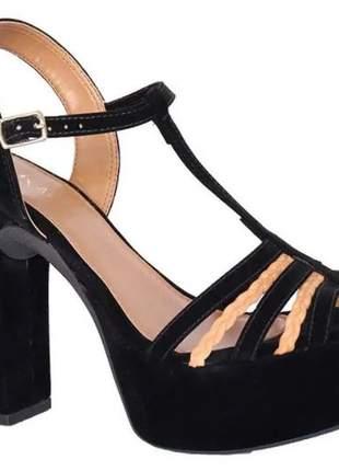 Sandália feminino salto grosso meia pata preto nobuck