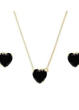 Conjunto coração preto banhado a ouro