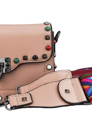 Bolsa transversal feminina com alça colorida ref 209