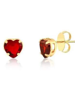 Brinco de coração vermelho banhado a ouro