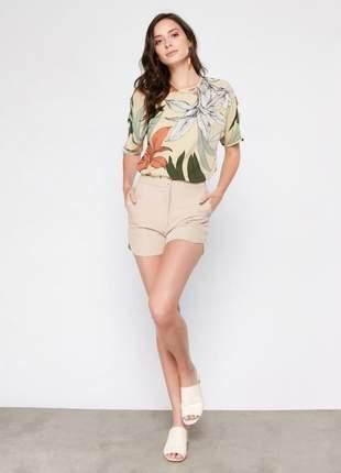 Blusa feminina estampada com tiras nas mangas tam.: g _ 42