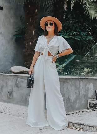 Calça pantalona - branco whirte