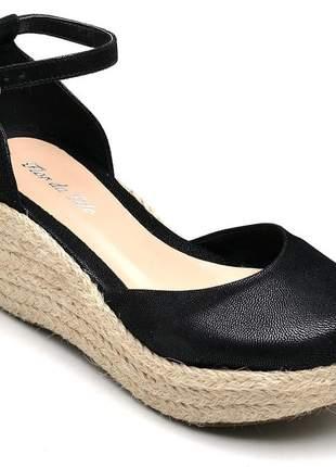 Sandália anabela preta salto medio flat form corda